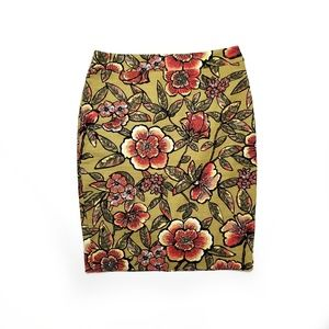 Loft Floral Pencil Skirt Green Red Vibrant 042
